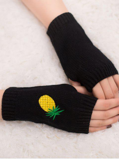 outfits Halloween Pineapple Embroidery Fingerless Knit Gloves - BLACK  Mobile