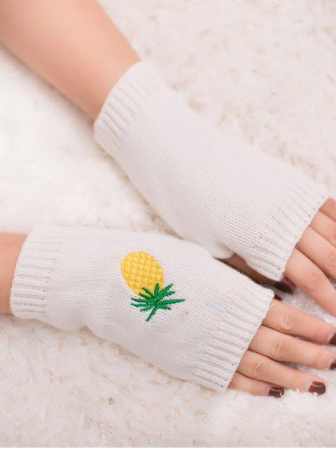 shops Halloween Pineapple Embroidery Fingerless Knit Gloves - WHITE  Mobile