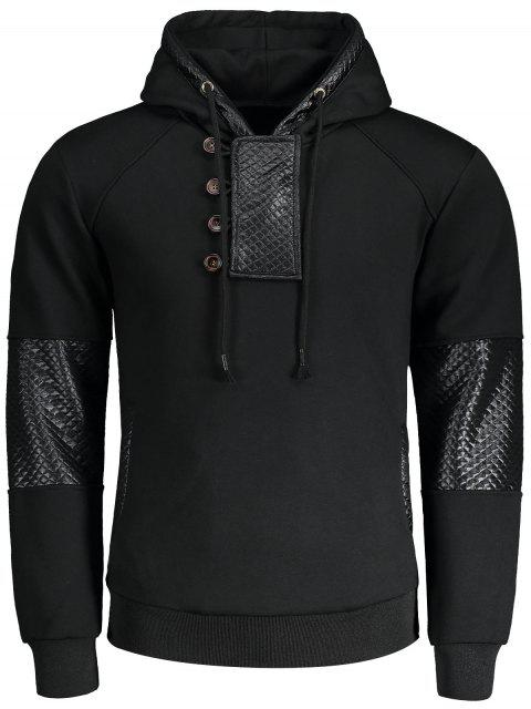 Fleece Faux Leather Panel Hoodie - Negro L Mobile