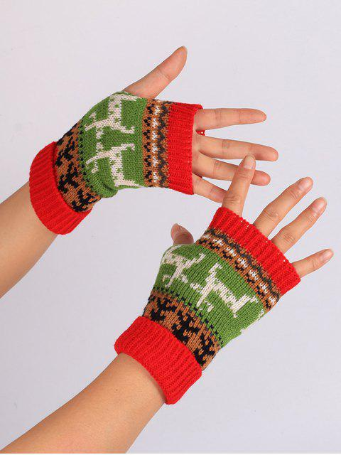 trendy Christmas Deer Embroidery Flanging Fingerless Gloves - RED  Mobile
