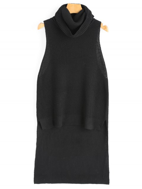 shops Cowl Collar High Low Sweater Vest - BLACK ONE SIZE Mobile