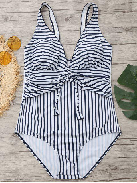 chic Drawstring Striped Plus Size Swimwear - BLUE AND WHITE XL Mobile