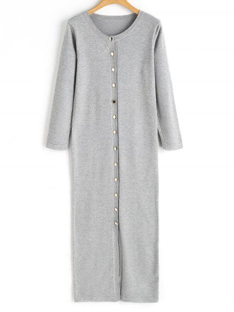 chic Button Up Sweater Dress - GRAY ONE SIZE Mobile