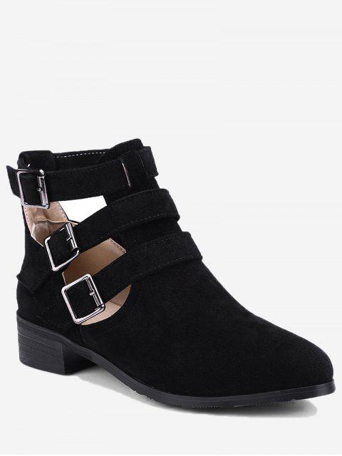 outfit Ankle Hollow Out Buckle Strap Boots - BLACK 36 Mobile