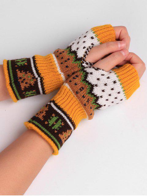 chic Christmas Tree Crochet Knitting Fingerless Gloves - GINGER  Mobile