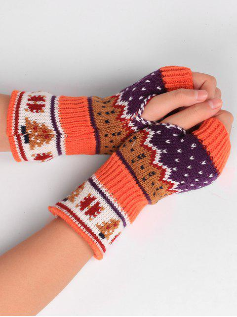 buy Christmas Tree Crochet Knitting Fingerless Gloves - MANDARIN  Mobile