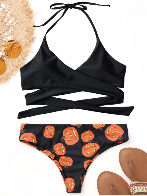 fashion Halter Halloween Pumpkin Wrap Bikini - BLACK L Mobile