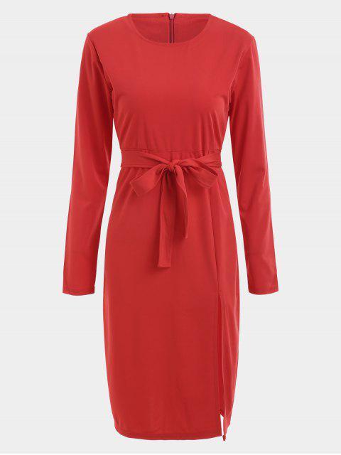 Belted Slit Langarm Kleid - Rot XL Mobile