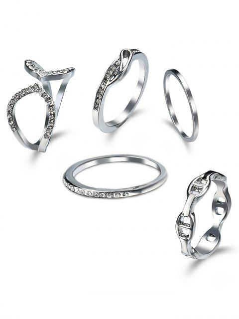 Rhinestone Circle Cuff Ring Set - Silber  Mobile