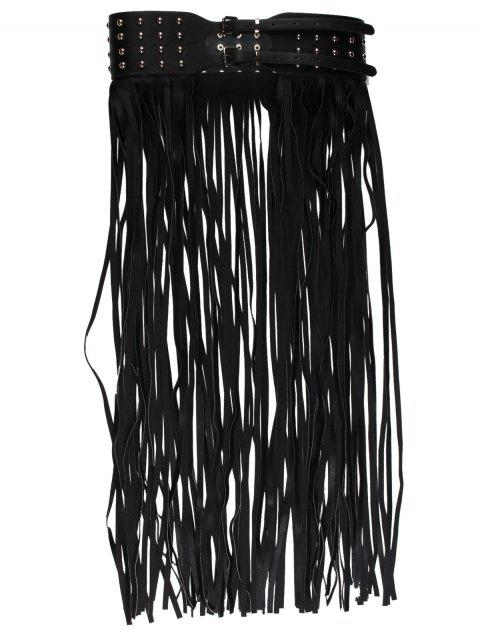 Correa de falda de borla larga embellecida con remaches - Negro  Mobile