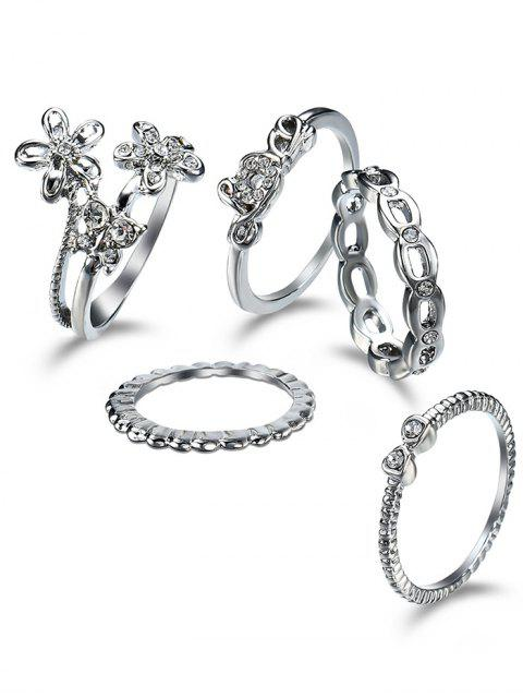 trendy Rhinestone Butterfly Flower Finger Ring Set - SILVER  Mobile