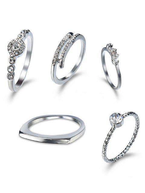 Rhinestone-Finger-Kreis-Ring-Satz - silber  Mobile