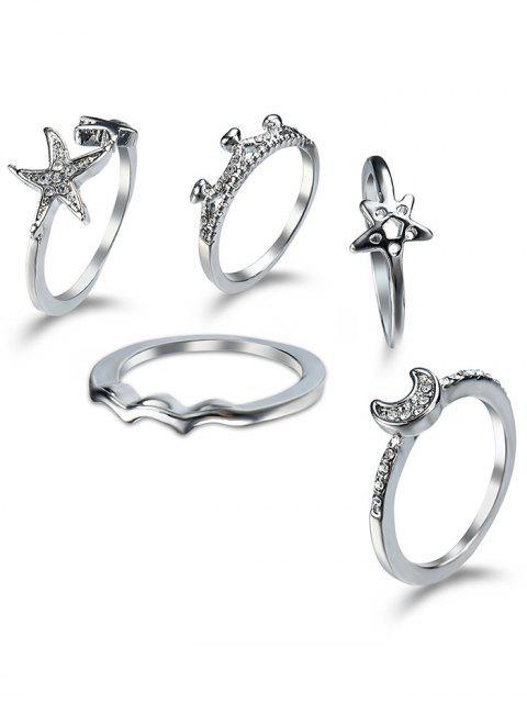 Rhinestone Star Moon Cuff conjunto de anillo de dedo - Plata  Mobile