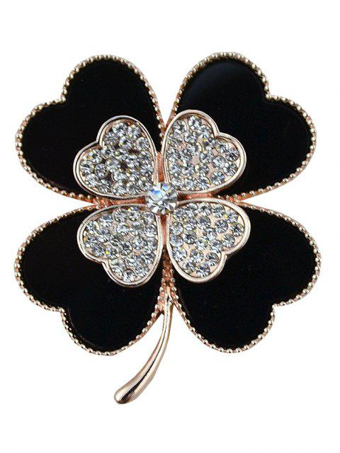 women's Rhinestone Alloy Floral Love Heart Brooch - BLACK  Mobile