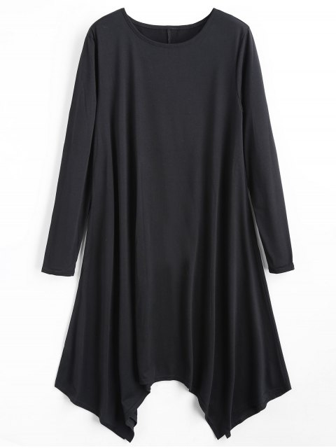 best Long Sleeve Plain Asymmetric Dress - BLACK M Mobile