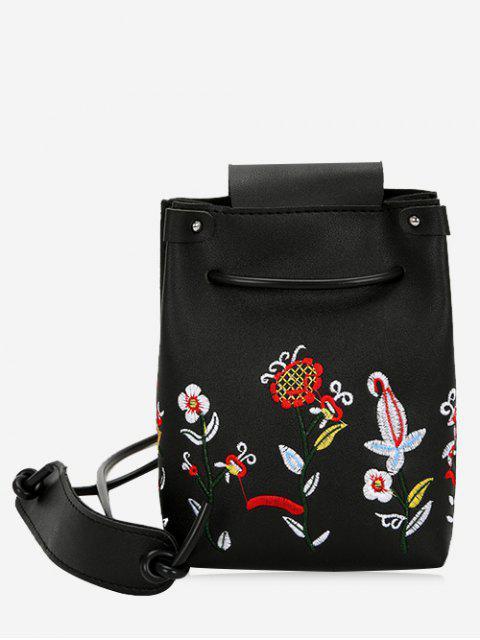 Stickerei Blume Drawstring Crossbody Tasche - Schwarz  Mobile