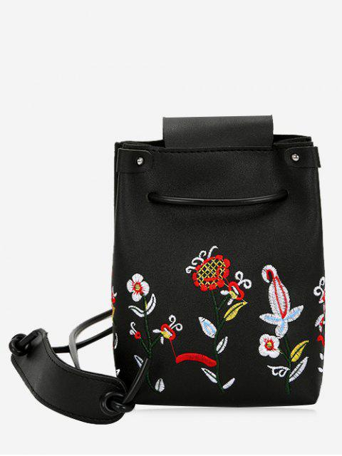 new Embroidery Flower Drawstring Crossbody Bag - BLACK  Mobile