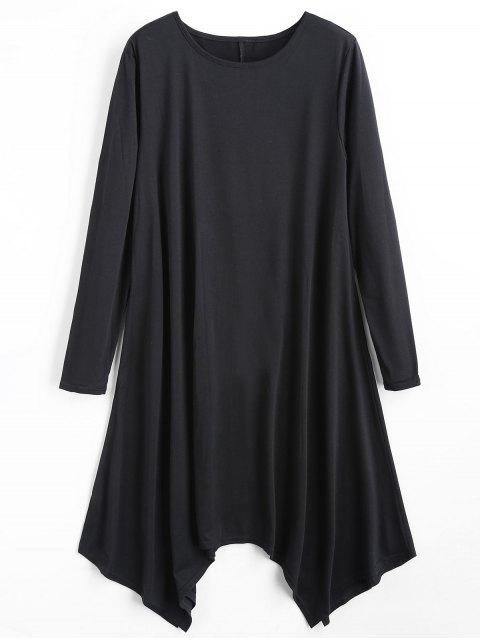 Vestido asimétrico liso de manga larga - Negro S Mobile