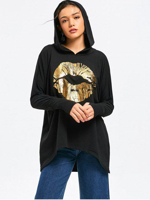 Casual Oversized Shiny Lips Hoodie - Negro XL Mobile