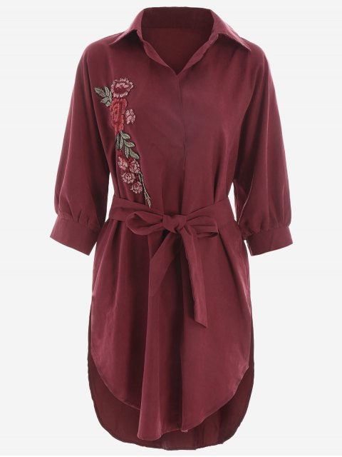 lady Floral Patched Belted High Low Shirt Dress - DEEP RED L Mobile