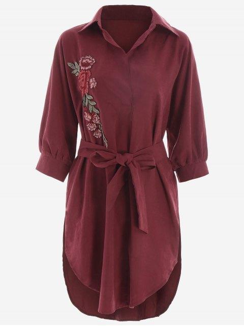 Vestido alto estampado floral con cinturón - Rojo oscuro S Mobile