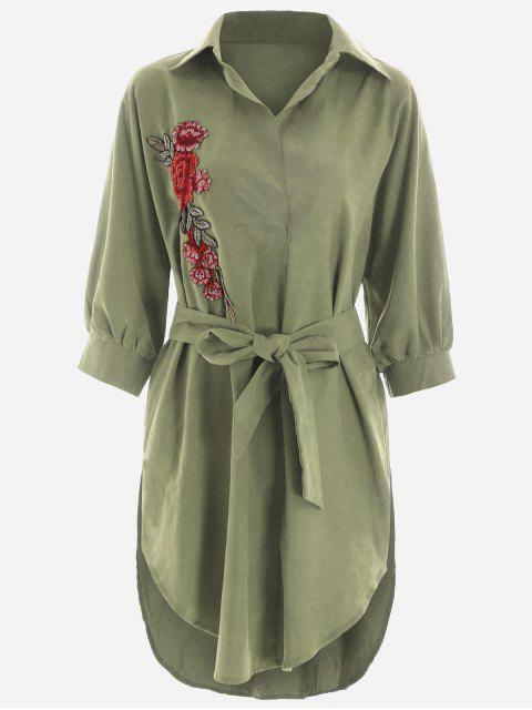 trendy Floral Patched Belted High Low Shirt Dress - ARMY GREEN L Mobile