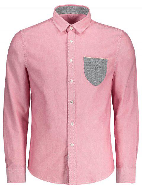 chic Button Up Pocket Shirt - SHALLOW PINK XL Mobile