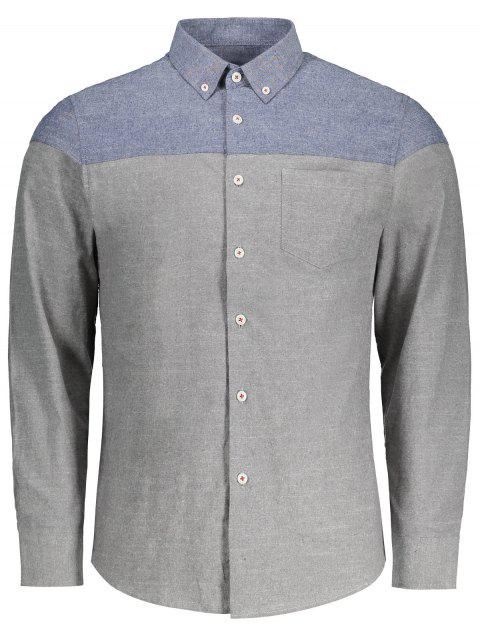 affordable Button Down Two Tone Shirt - GRAY 3XL Mobile