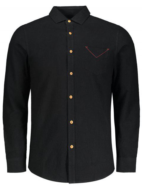 online Button Down Pocket Plain Shirt - BLACK 4XL Mobile