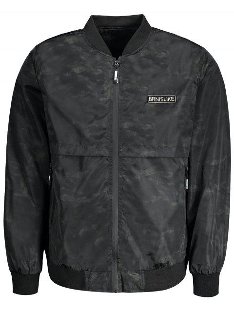 fancy Printed Bomber Jacket for Men - BLACK L Mobile