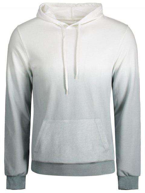 outfits Kangaroo Pocket Ombre Hoodie - GREY AND WHITE 4XL Mobile