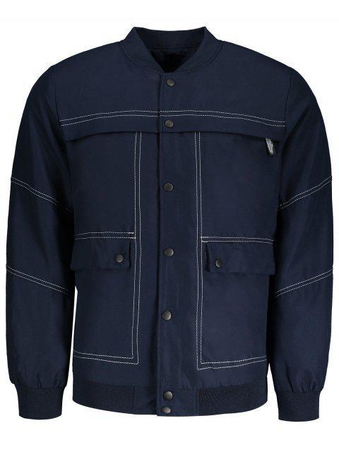 trendy Sanp-button Bomber Jacket - BLUE XL Mobile