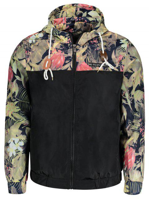 lady Plant Print Hooded Windbreaker Jacket - BLACK L Mobile