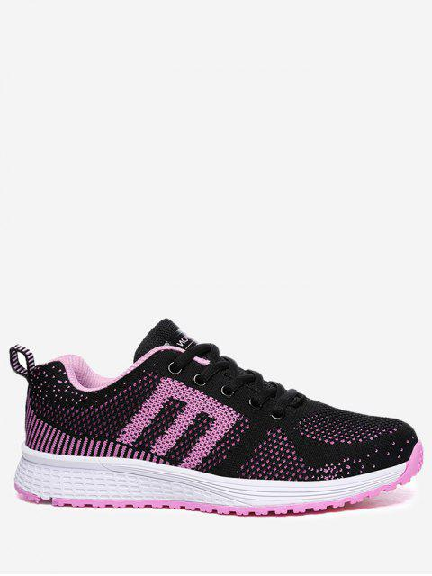 latest Letter Contrasting Color Athletic Shoes - BLACK AND PINK 37 Mobile