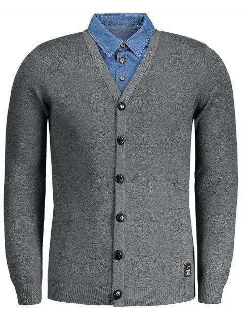 shop Button Up Mens Cardigan - DEEP GRAY 2XL Mobile