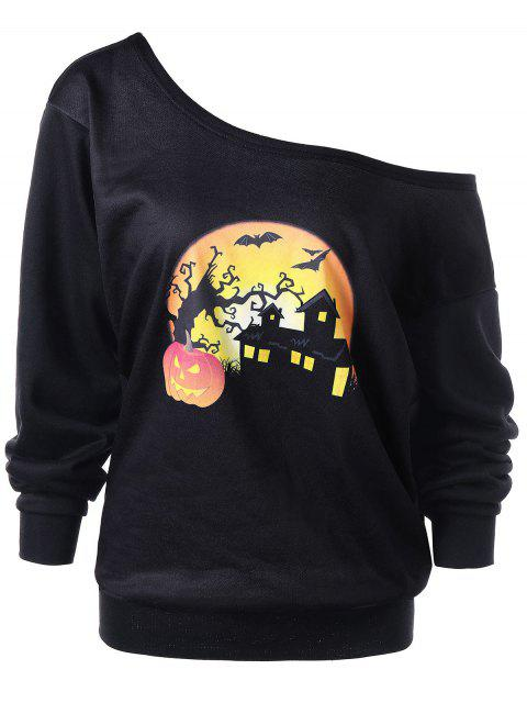 affordable Halloween Plus Size Night Scene Sweatshirt - BLACK 2XL Mobile