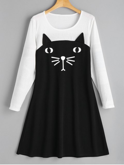 chic Cat Two Tone Casual Dress - BLACK L Mobile