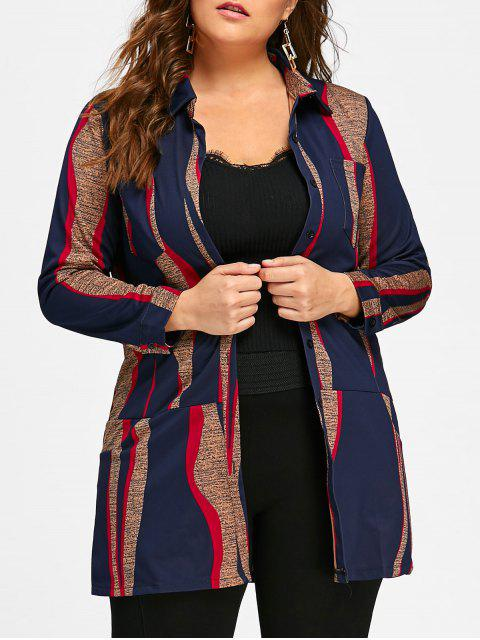 outfit Plus Size Printed Long Button Up Shirt - MULTICOLOR 5XL Mobile