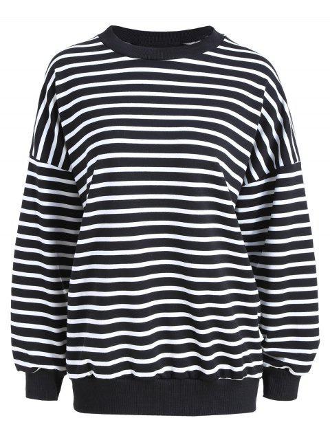 affordable Plus Size Drop Shoulder Striped T-shirt - BLACK STRIPE ONE SIZE Mobile