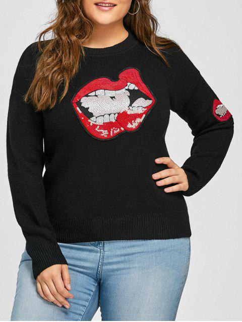 fancy Plus Size Lip Sequin Drop Shoulder Sweater - BLACK 3XL Mobile