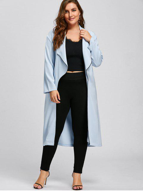 fashion Plus Size Longline Waterfall Trench Coat - LIGHT BLUE 4XL Mobile