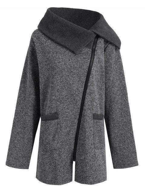 womens Plus Size Fleece Oblique Zipper Turn Down Hoodie - GREY AND DARK GREY 2XL Mobile