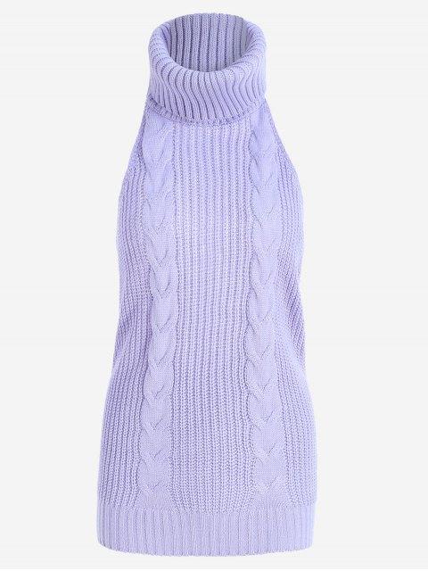 Jersey sin espalda con cuello de tortuga y cuello alto sin mangas - Morado Claro Única Talla Mobile