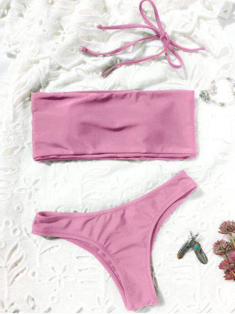 buy High Cut Bandeau Thong Bathing Suit - PINK L Mobile