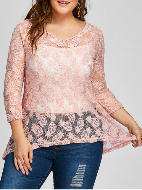 women Pineapple Lace High Low Sheer Plus Size Blouse - PINK 3XL Mobile