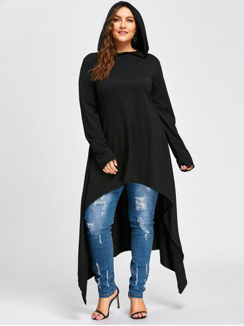 online Plus Size Maxi High Low Hooded Top - BLACK 4XL Mobile