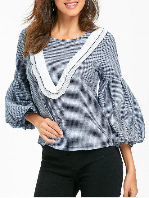 women Puff Sleeve Plaid Ruffled Blouse - CHECKED L Mobile