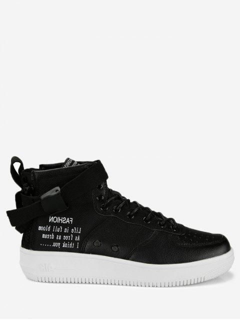 fashion Buckle Strap Letter High Top Sneakers -   Mobile