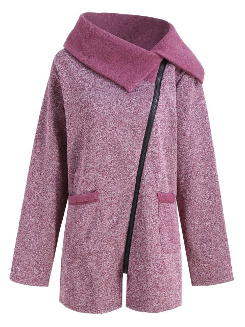 trendy Plus Size Fleece Oblique Zipper Turn Down Hoodie - PURPLISH RED 5XL Mobile
