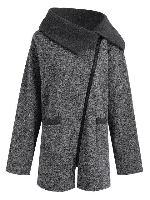 affordable Plus Size Fleece Oblique Zipper Turn Down Hoodie - GREY AND DARK GREY 4XL Mobile